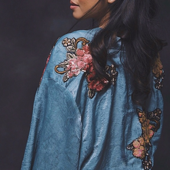 Tops - NEW Teal Kimono with Floral Patches